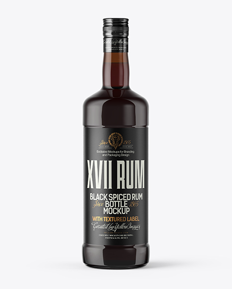 Amber Glass Bottle with Black Rum Mockup