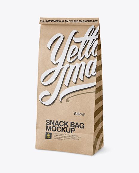 Download Kraft Paper Snack Bag Mockup - Half Side View Object Mockups