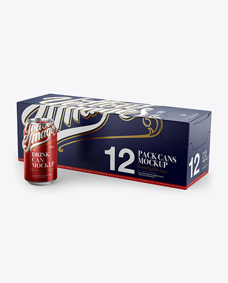 Download Closed Box with 12 Aluminium Cans with a Can Standing Alone Mockup - Half Side View Object Mockups