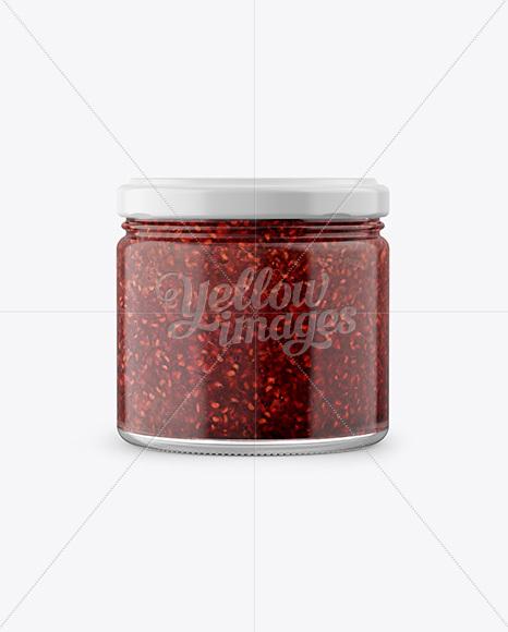 Glass Jar with Raspberry Jam Mockup - Front View