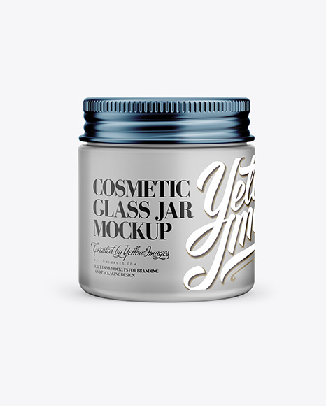 Download Frosted Glass Cosmetic Jar Mockup - Front View Object Mockups