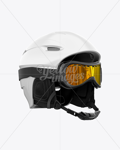 Ski Helmet With Goggles Mockup - Right Half Side View