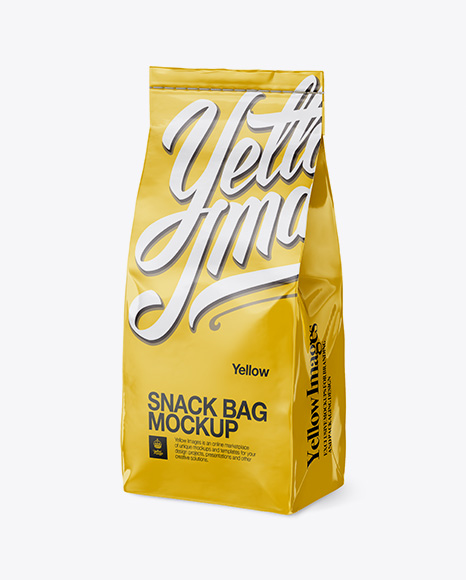 Download Glossy Paper Snack Bag Mockup - Half Side View - Glossy ...