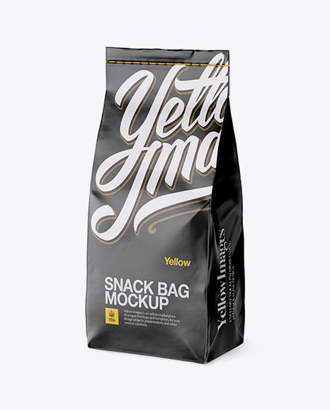 Matte Paper Snack Bag Mockup - Half Side View