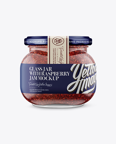 Glass Jar with Raspberry Jam Mockup - Front View