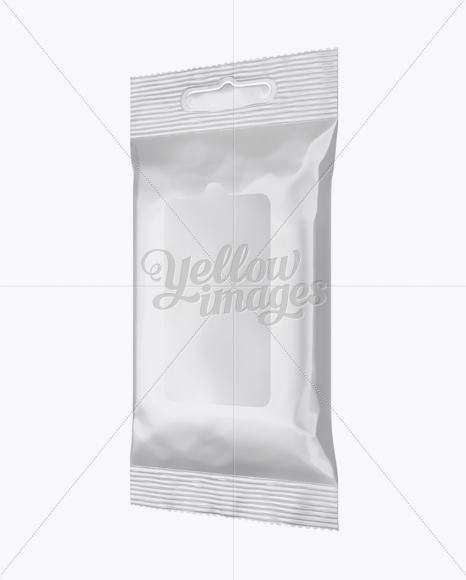 Glossy Wet Wipes Pack Mockup - Half Side View