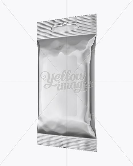 Metallic Wet Wipes Pack Mockup - Half Side View