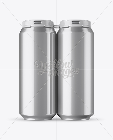 Pack with 4 Metallic Aluminium Cans with Plastic Holder - Front View