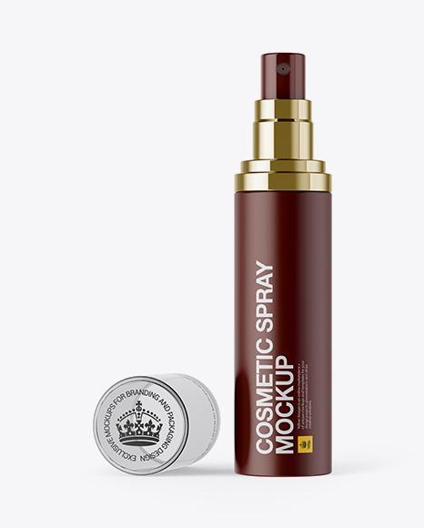 Download Open Matte Spray Bottle W/ Transparent Cap Mockup Object Mockups