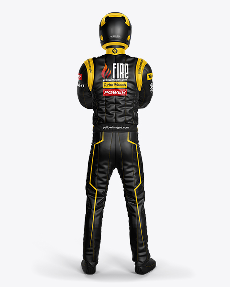 Download Free F1 Racing Kit Mockup - Back View PSD Template