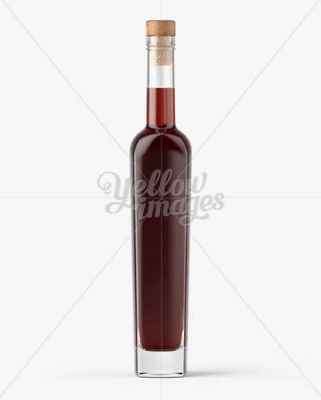 Clear Glass Bottle with Dark Rum Mockup