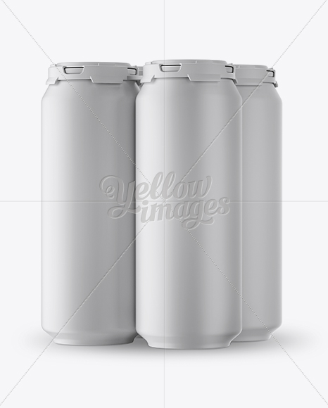Pack with 4 Matte Aluminium Cans with Plastic Holder -  Half Side View