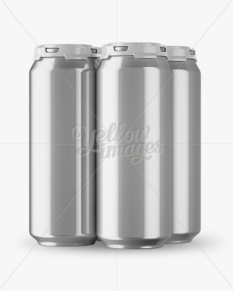 Pack with 4 Metallic Aluminium Cans with Plastic Holder -  Half Side View