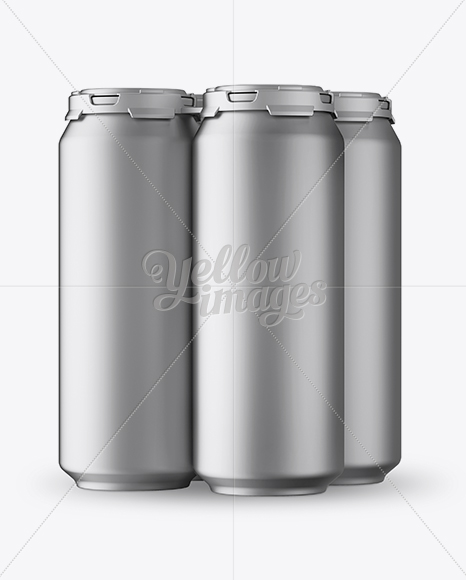 Pack with 4 Matte Metallic Aluminium Cans with Plastic Holder -  Half Side View