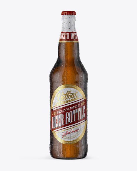 Download 22oz Amber Beer Bottle With Condensation Mockup PSD - Free PSD Mockup Templates