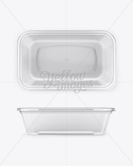 Plastic Clear Container Mockup - Front, Side and Top Views