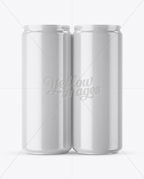 4 Glossy Aluminium Cans Mockup - Front View