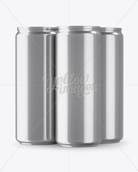 Download Three Glossy Metallic Cans Mockup PSD - Free PSD Mockup Templates