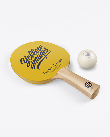 Matte Ping Pong Paddle W/ Ball - Half Side View (High-Angle Shot)