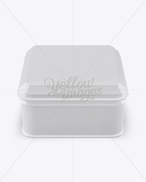 Glossy Square Lunch Box Mockup (High Angle Shot)