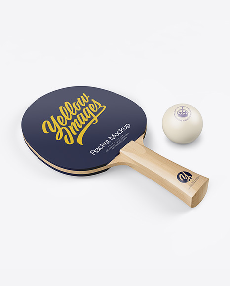 Glossy Ping Pong Paddle W/ Ball - Halfside View