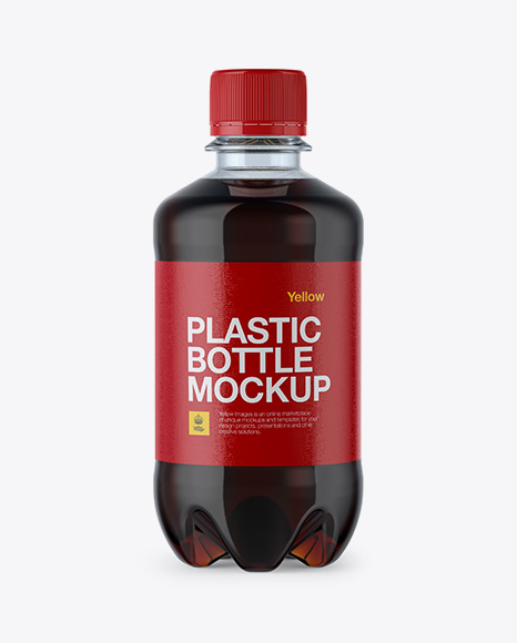 Plastic 330ml Bottle with Dark Drink Mockup