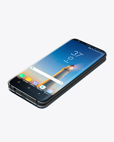 Download Free Samsung Galaxy S8+ Front & Back Views (High-Angle Shot) PSD Template
