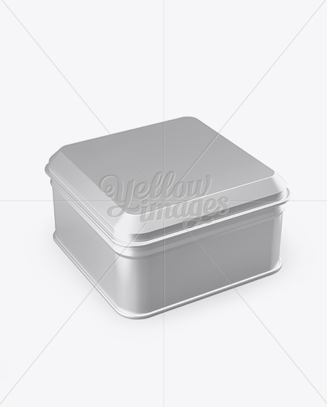 Metallic Square Lunch Box Mockup - Half Side View (High Angle Shot)