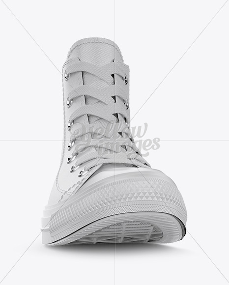 High-Top Canvas Sneaker Mockup - Front View