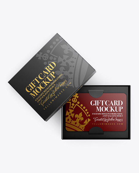 Download Gift Card In A Box Mockup Top View In Object Mockups On Yellow Images Object Mockups PSD Mockup Templates
