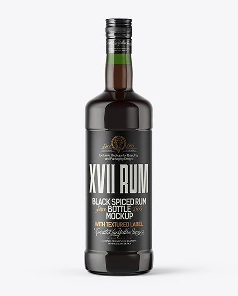 Green Glass Bottle with Black Rum Mockup