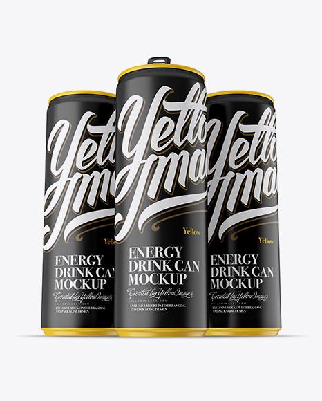 Download Free Three 250ml Matte Aluminium Cans Mockup - Hero Shot PSD Template