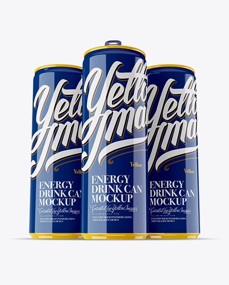 Download Free Three 250ml Glossy Aluminium Cans Mockup - Hero Shot PSD Template