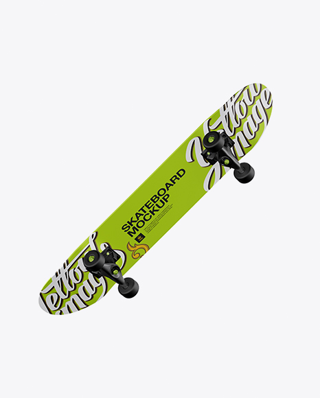 Skateboard Mockup - Back Half Side View