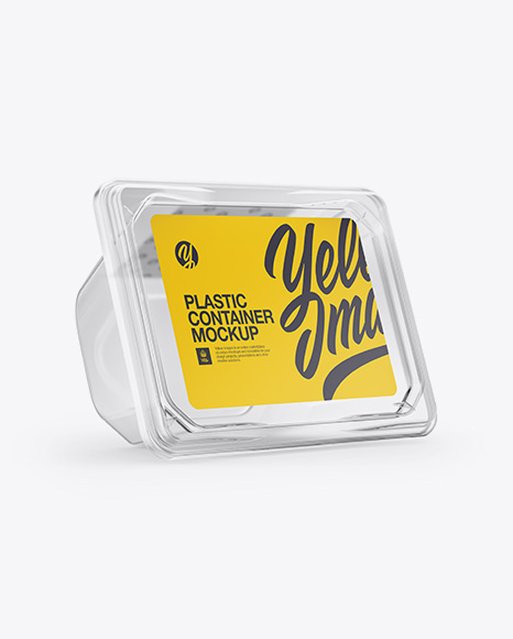 Transparent Plastic Container Mockup - Front Half Side View