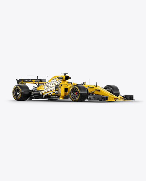 Download Free 2017 Formula 1 Car Mockup - Half Side View PSD Template