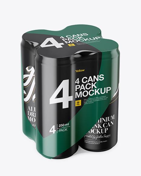 Download 4 Matte Metallic Aluminium Cans Mockup Half Side View High Angle Shot PSD - Free PSD Mockup Templates