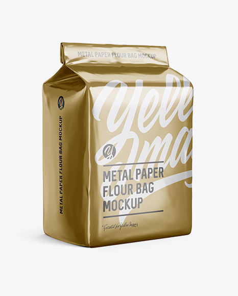 Download Free Metallic Paper Flour Bag Mockup - Halfside View (Eye-Level Shot) PSD Template