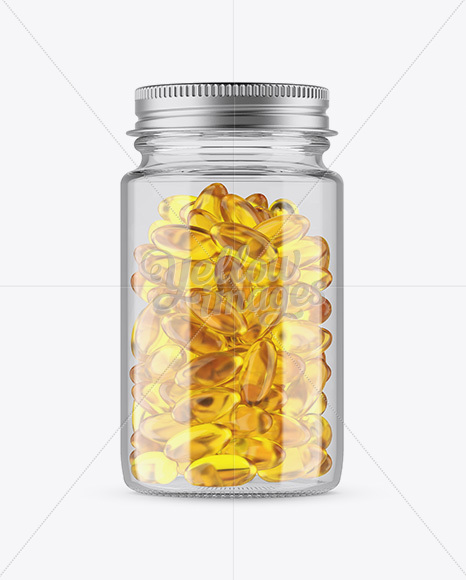 Clear Glass Fish Oil Bottle With Metal Cap Mockup - Front View