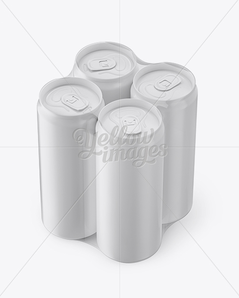 4 Matte Cans in Shrink Wrap Mockup - Half Side View (High
