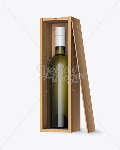 Green Glass Wine Bottle In Open Wooden Box Mockup Half Side