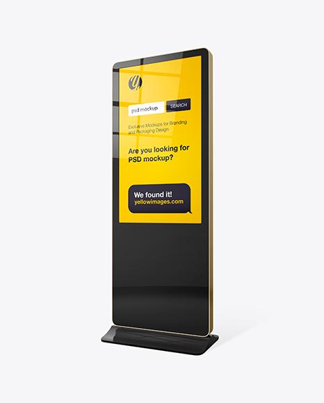 Digital LCD Display Mockup - Half Side View