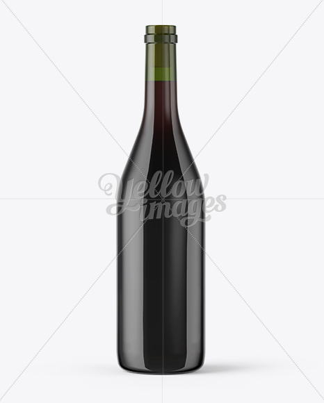 Green Glass Red Wine Bottle With Cork Mockup