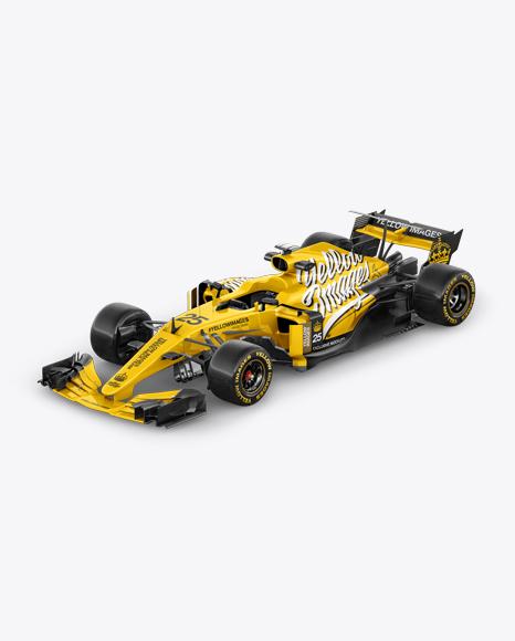 Download 2017 Formula 1 Car Mockup Half Side View High Angle Shot In Vehicle Mockups On Yellow Images Object Mockups PSD Mockup Templates