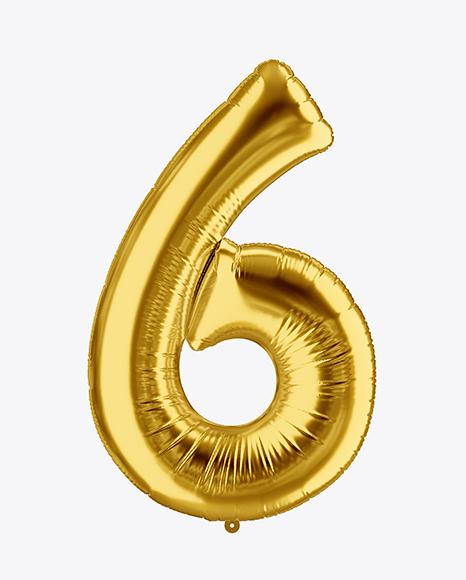 Download Number 6 Foil Balloon Mockup Object Mockups
