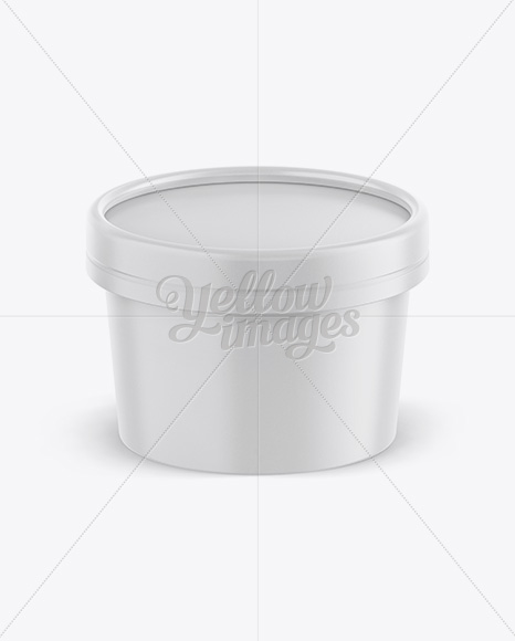 Carton Ice Cream Cup Mockup - Front View (High-Angle Shot)