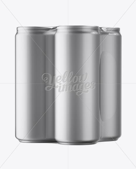 4 Matte Metallic Cans in Shrink Wrap Mockup - Half Side View