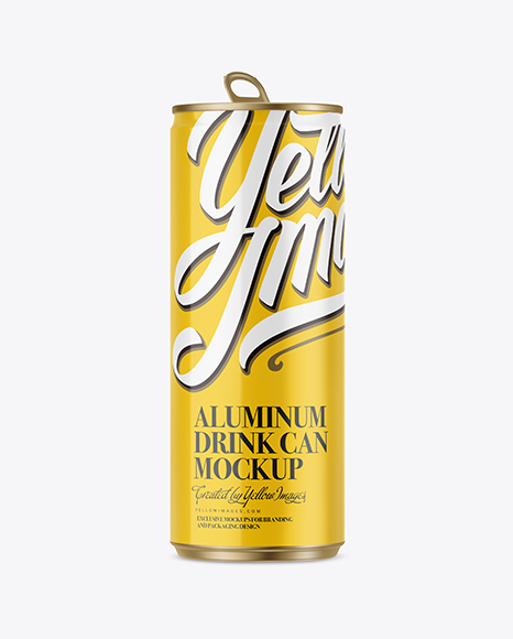 250ml Glossy Aluminium Can Mockup