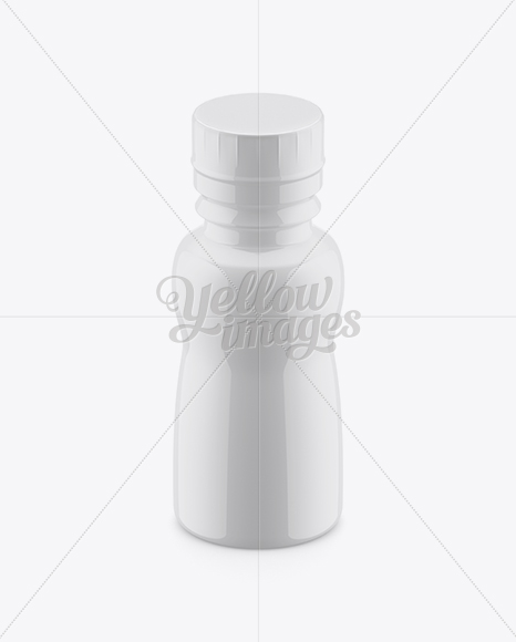 Bottle In Glossy Shrink Sleeve Mockup (High Angle Shot)