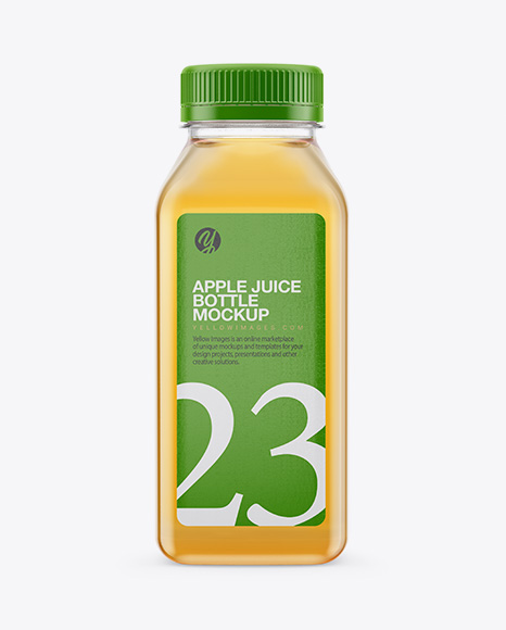 Clear Plastic Bottle With Apple Juice Mockup
